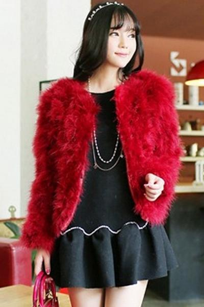 Ostrich Fur Open Front Coat - OASAP.com