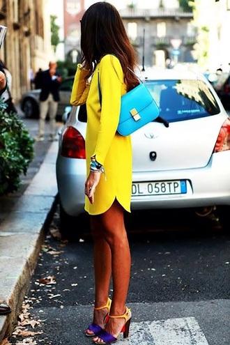 dress yellow dress long sleeves mini dress jacket shoes