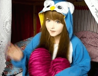 jacket venusangelic kawaii footie pajamas footies owl blue anime doll pajamas pants onesie