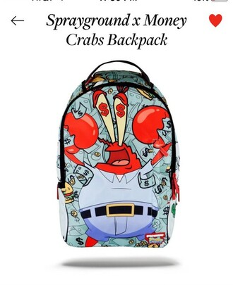 bag spongebob backpack cartoon money crab
