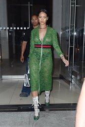 dress,midi dress,green dress,rihanna,lace up heels,lace dress,lace,purse,gucci,shoes