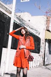 dylana suarez,blogger,dress,jacket,bag,shoes,orange dress,vest,leather vest,tumblr,orange,mini dress,long sleeves,long sleeve dress,tights,fall outfits,fall colors