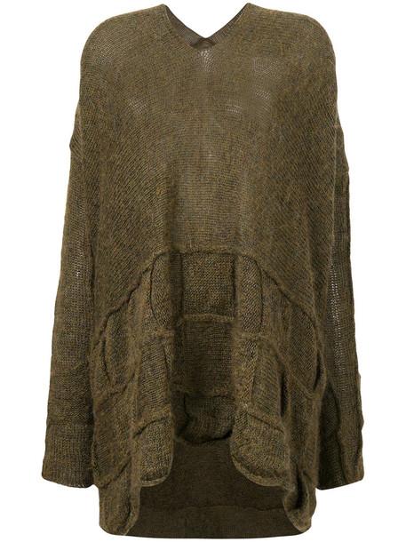 Masnada - high low jumper - women - Linen/Flax/Nylon/Mohair - S, Green, Linen/Flax/Nylon/Mohair