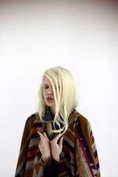 summer listen,navajo,grey jacket,poncho,jacket,blonde hair,spring jacket,platinum hair