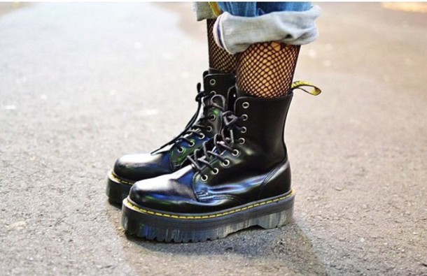 shoes dr. martens jadon boot black polished smooth