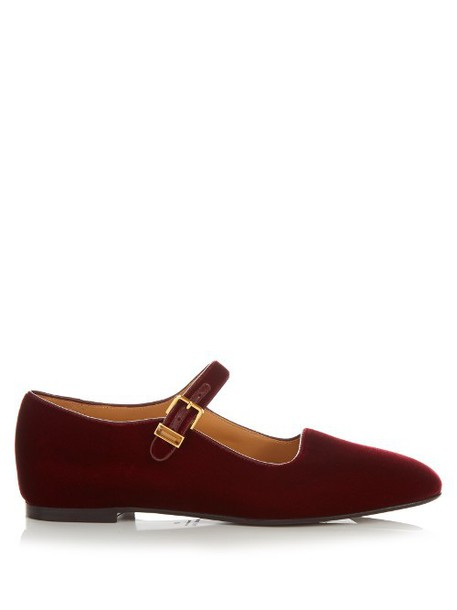 THE ROW Ava velvet flats in burgundy
