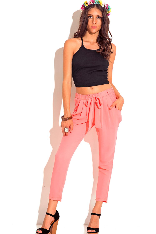 Light Pink Pocketed Tie Front Silky Satin Harem Pants