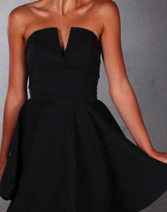 dress black dress vneck dress strapless fancy