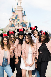 jacket,black top,tumblr,disney,disneyland,pink jacket,pink bomber jacket,bomber jacket,skirt,mini skirt,white skirt,top,white top,jeans,black jeans,blue jeans,ripped jeans,girl squad,pink bomber,pastel pink