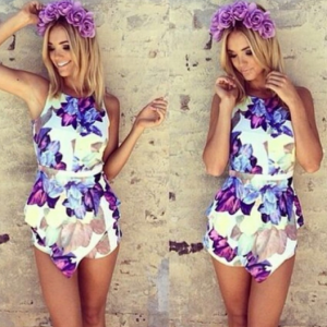 Purple Floral Stunning Playsuit | Glamorous Clothing