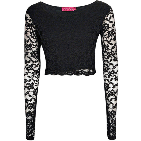 Boohoo Sienna Long Sleeve Lace Crop Top - Polyvore