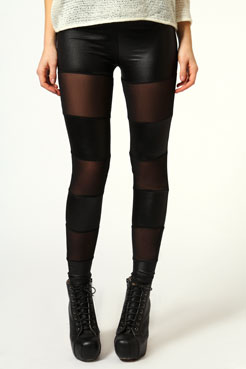 Carrie Mesh Insert Leggings at boohoo.com