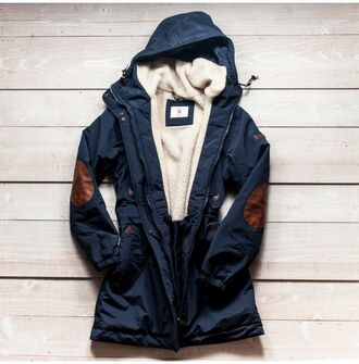 jacket parka hooded elbow patch windbreaker