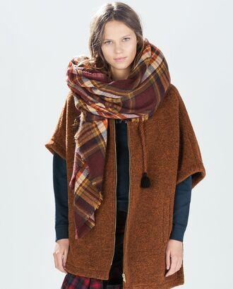 scarf tartan oversized blanket boho brown bohemian square indie gypsy hippie vintage hipster blanket scarf