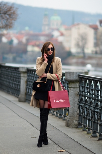 vogue haus blogger sweater dress coat shoes bag sunglasses gucci gucci bag thigh high boots boots beige coat black knit dress mini knit dress