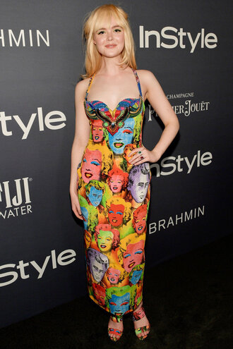dress colorful elle fanning maxi dress