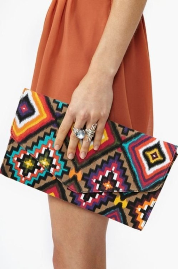 bag clothes clutch tribal pattern bright