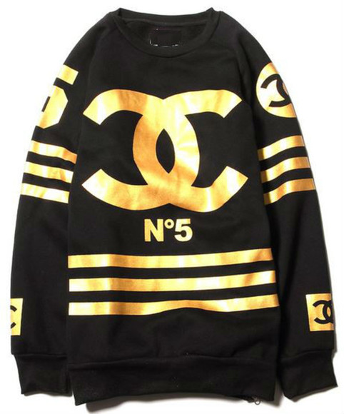 chanel gold black sweater inspired n5 stripe