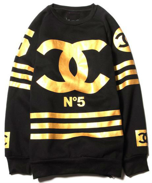 Sweater: chanel, inspired, n5, gold, black, stripes - Wheretoget