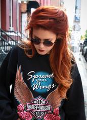 sweater,black,cool,spread your wings,motors harley,gold,wings,blue