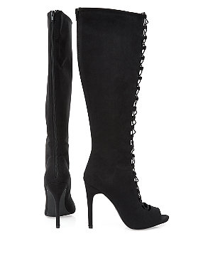 Black lace up peeptoe knee high heeled boots