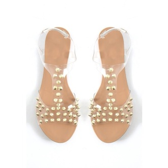 shoes clear jellies stud studded sandals gold spike gold shoes