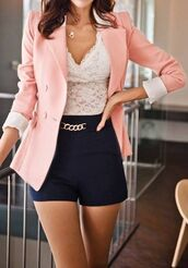 shorts,High waisted shorts,jacket,lace,blouse,shirt,cardigan,chain,gold,black shorts,black high waisted pants,short,high waisted,pink,cobert,tank top,dress,white,cute,blue,dark,coat,i really want this whole outfit can you help me find it !!!,classy,pastel,pale pink blazer,blazer,baby pink,shoes,blush pink,bows,pink jacket,peach,cut,folded,top,lace top,outfit,set,the look,jumpsuit,everything,modern,clothes,corsl,classy girls wear pearls,either this colour or black (thanks you  ).       ,pink coat,pink blazer,chic,fashion,style,caridigan,black dress,wife gift