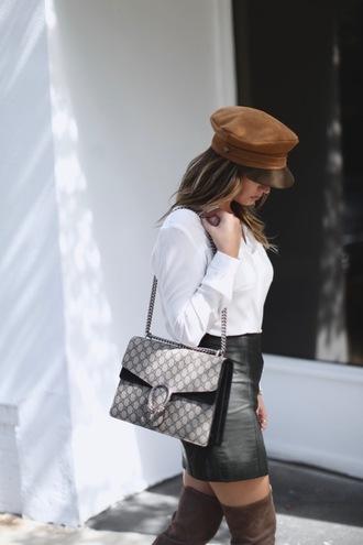 hat black skirt tumblr fisherman cap shirt white shirt skirt mini skirt leather skirt bag gucci