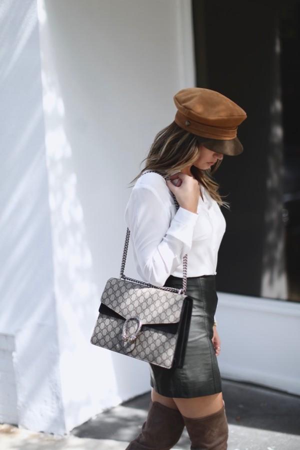 5f9557dae1c hat black skirt tumblr fisherman cap shirt white shirt skirt mini skirt  leather skirt bag gucci.