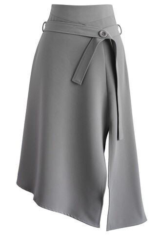 skirt bravo split hem midi skirt in grey chicwish grey midi skirt