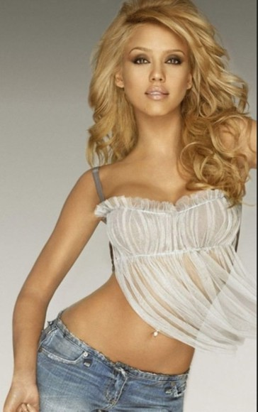 tank top jeans jessica alba white tank top gorgeous blonde skinny piercing boobs sexy hottie idol famous lips sheer see through half top backless