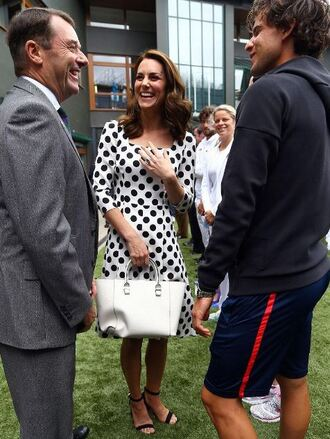 dress polka dots midi dress white dress black and white kate middleton spring dress spring outfits