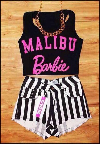 shirt barbie black crop top