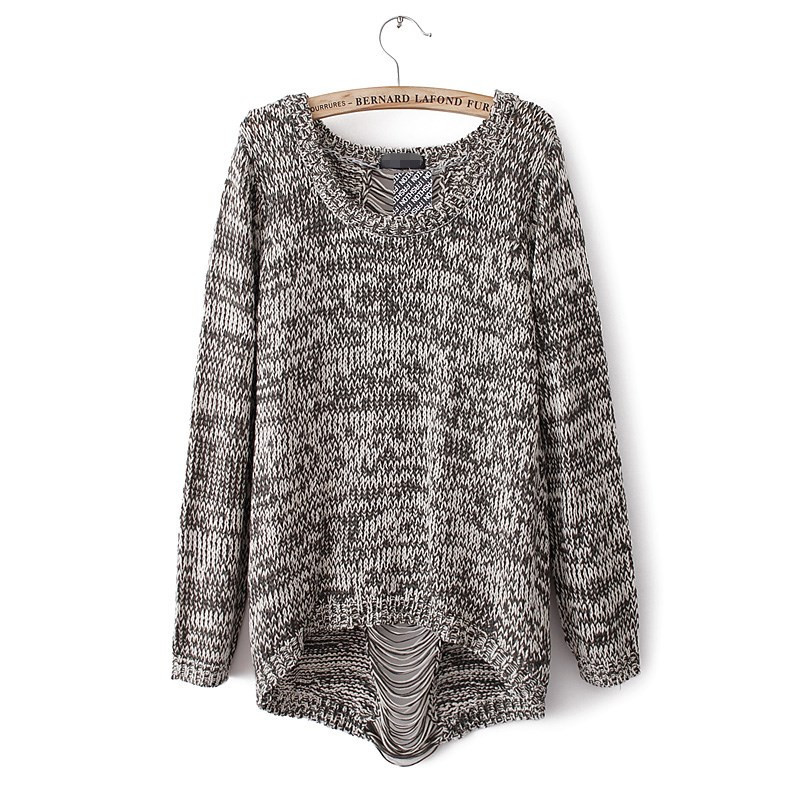 Aliexpress.com : Buy Autumn Womens Pullover Fashion Knit Sweater Back Hole Grey/Black M/L from Reliable knit cardigan sweater suppliers on leotop city(offer drop shipping)