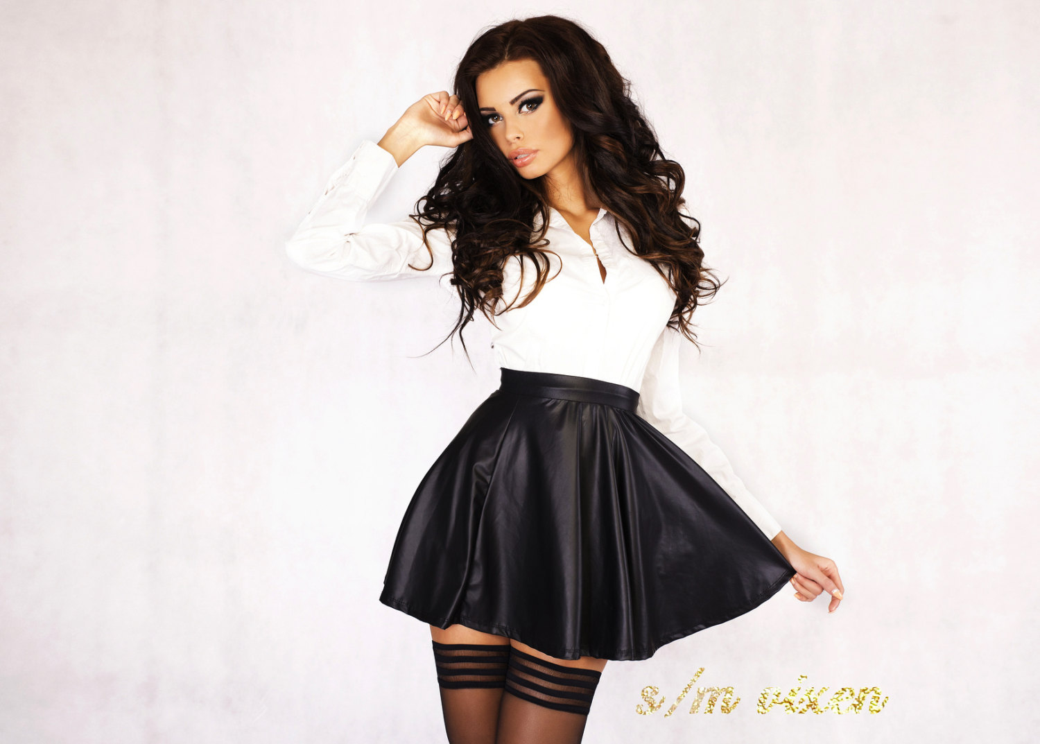 Black SKATER wet look faux leather skater skirt mini flare