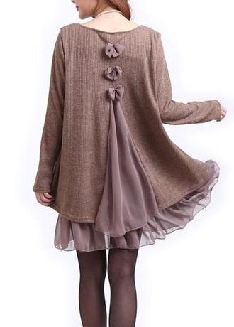 dress brown dress bows dress flowy fall outfits fall dress