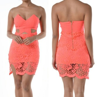dress coral lace dress lace dress bodycon dress www.stushico.com spandex padded dress