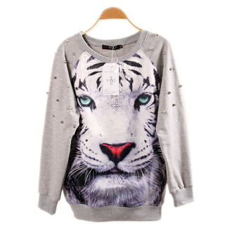 sweater fashion style trendy cool warm tiger long sleeves