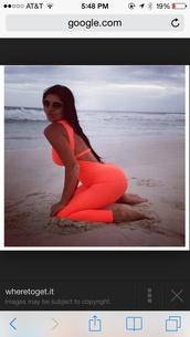 jumpsuit,fitness neon orange workout jumper / rompper