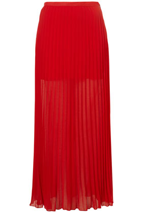 Red Pleated Maxi Skirt - Maxi & Midi Skirts - Skirts - Clothing ...