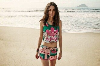 blouse adidas pattern trendy pink green flowers shorts