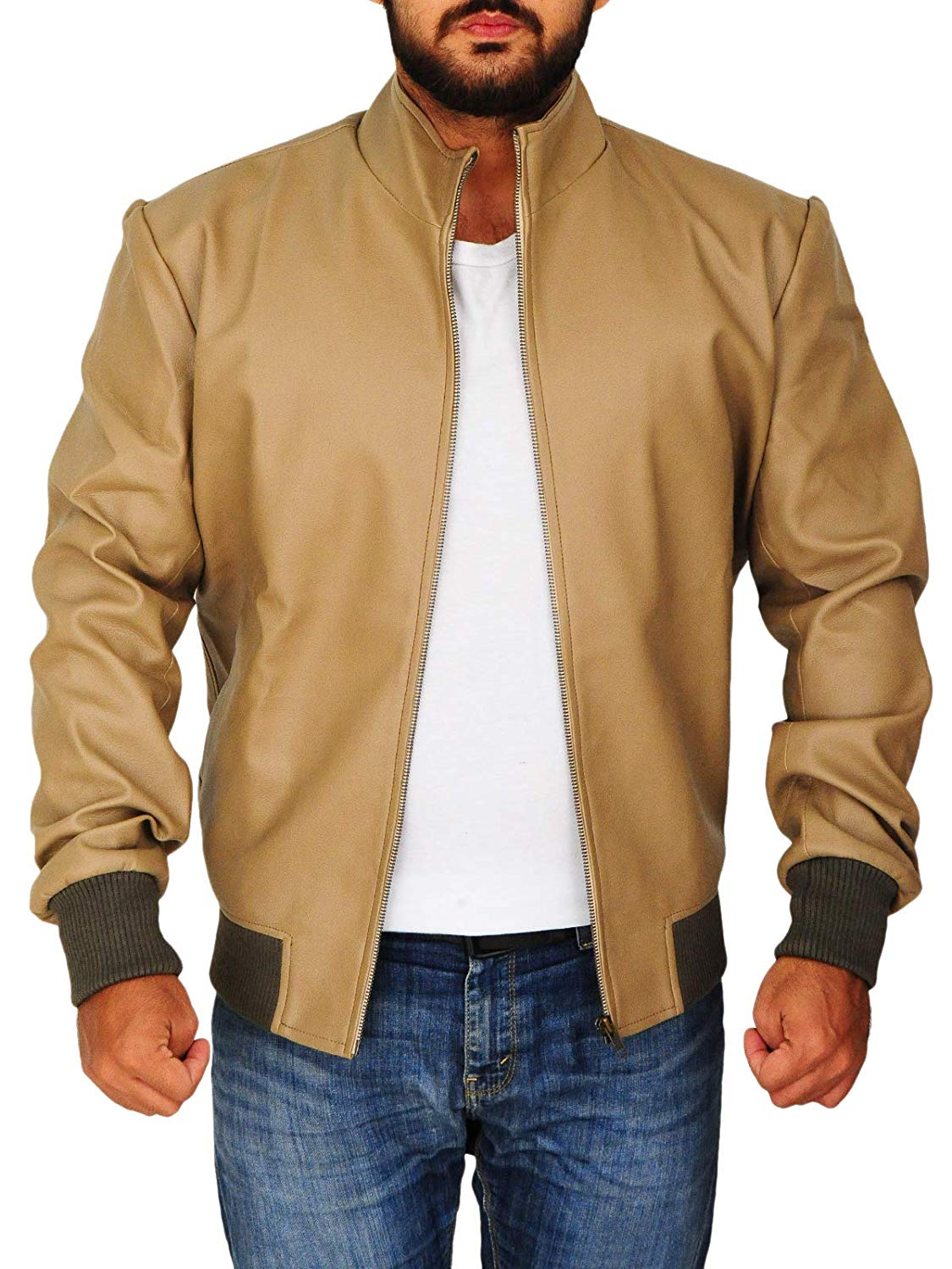 Men's Slim Fit Faux Leather Jacket Stand Up Collar Motorcycle Antique Beige Jacket - Large (Large) at Amazon Men's Clothing store: