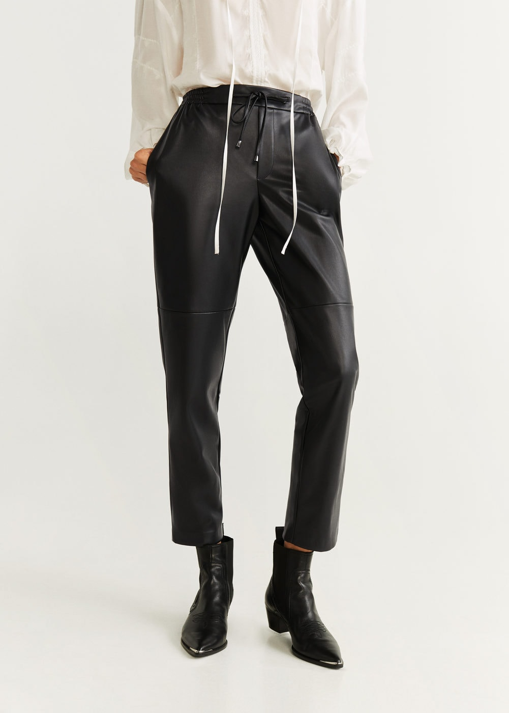 High-waist straight pants - Women | Mango USA