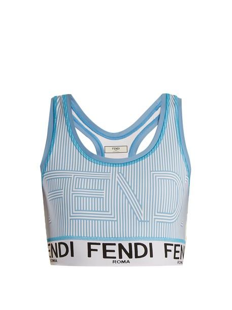 Fendi bra print light blue light blue underwear