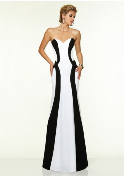black and white evening dresses - Dress Yp