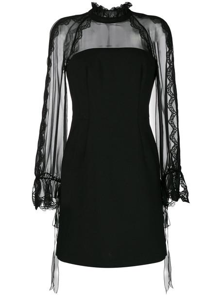 Alberta Ferretti dress mini dress mini sheer women spandex black silk wool