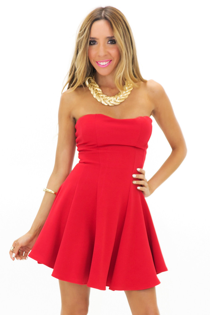 JENET TUBE RUFFLE MINI DRESS - Red | Haute & Rebellious
