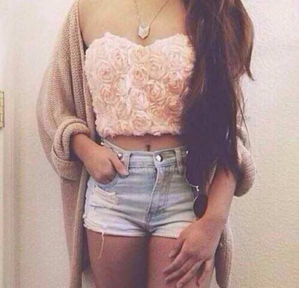 tank top summer top crop tops party outfit pink shorts girl clothes cardigan High waisted shorts bag
