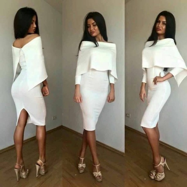8ec09ca1009a dress black hair fashion tan summer spring fall outfits winter outfits high  heels white dress long