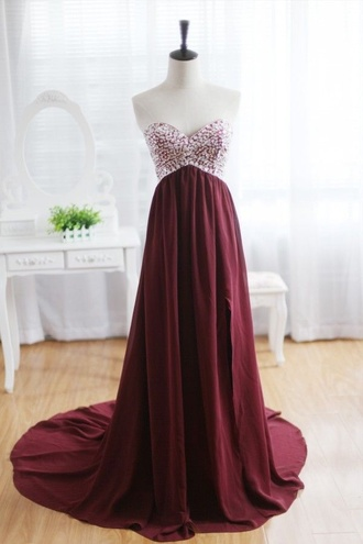 burgundy strapless long flowy flowy dress wine colour wine colored dress beaded bust sweetheart neckline sweetheart dresses graduation dress prom dress grad dress dress